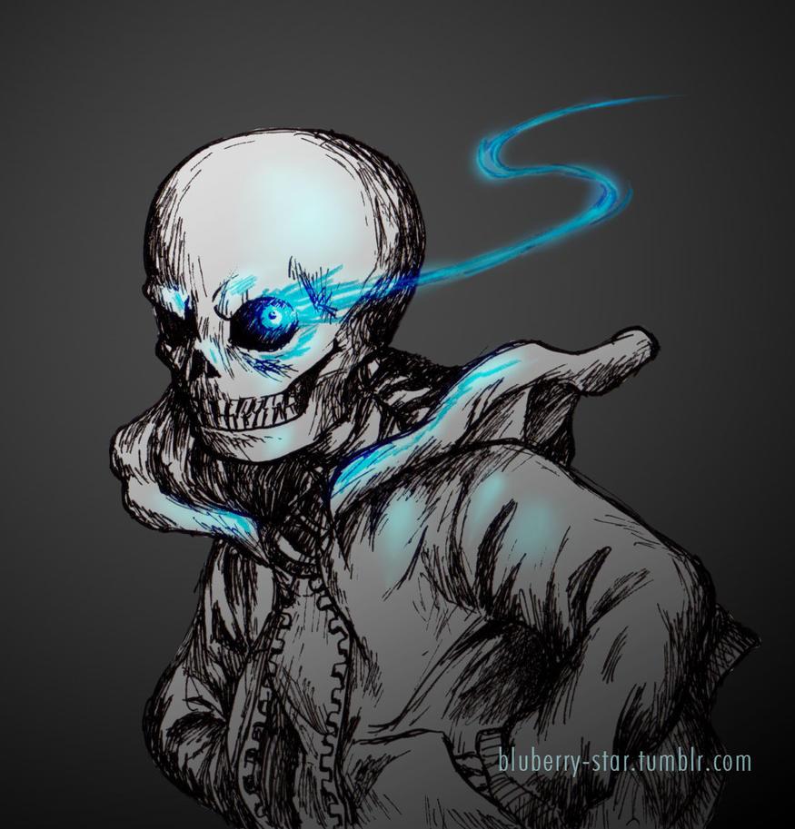 Skeleton Sans Undertale Blue Eye - 0425