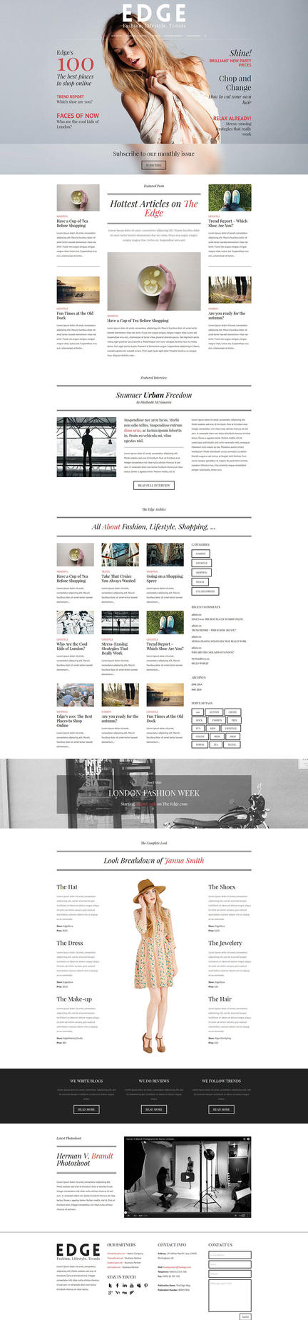 Magazine Website Layout - Edge - One Page Webdesig by ShindiriStudio