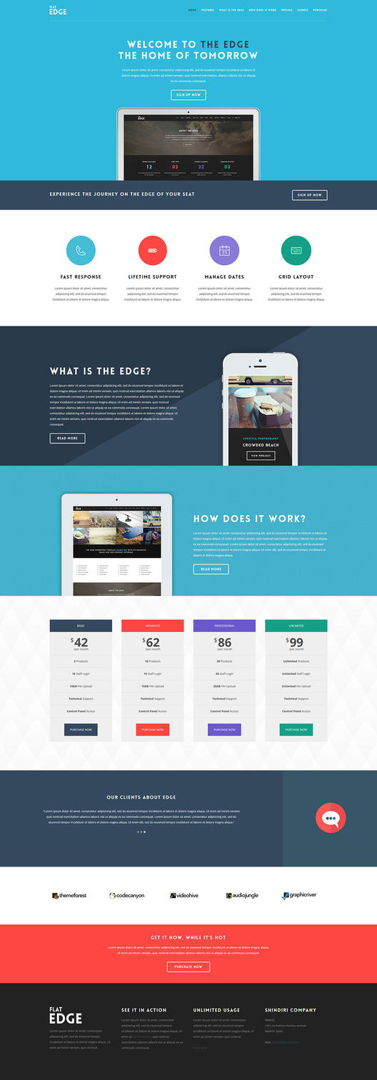 Flat Landing Page Webdesign - Edge - One-page WP by ShindiriStudio