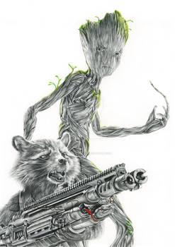 Rocket Raccoon and Teen Groot Drawing