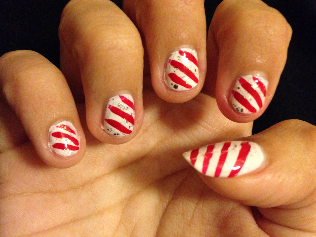 Candy Cane nails by Prince5s