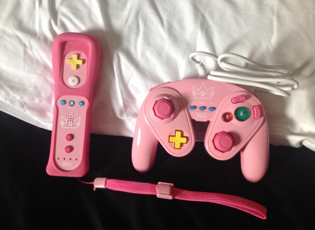 Princess Peach game controllers by Prince5s