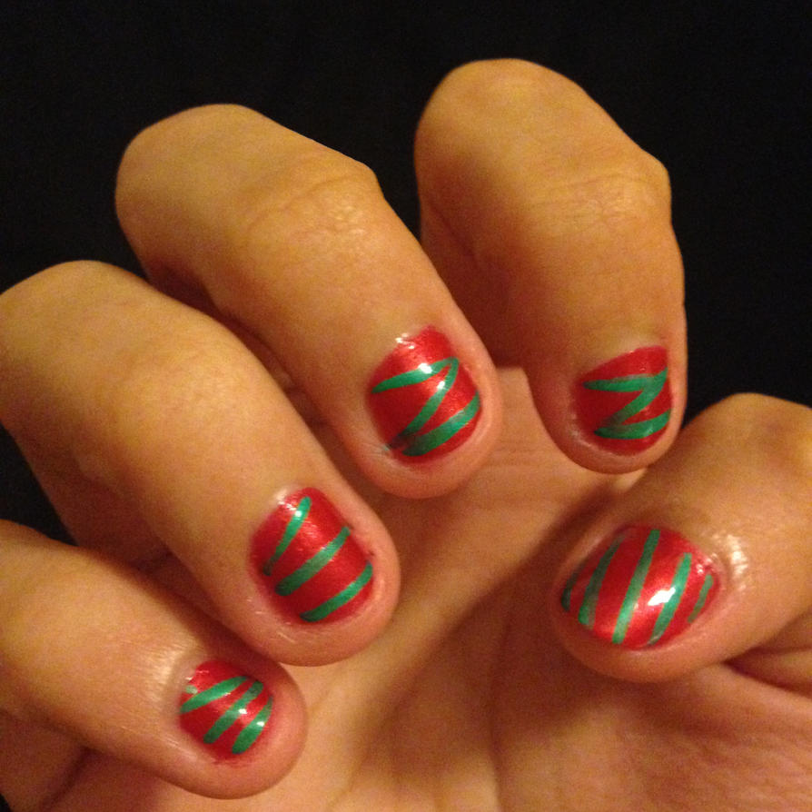 red and green christmas nails by prince5s - Red And Green Christmas Nails