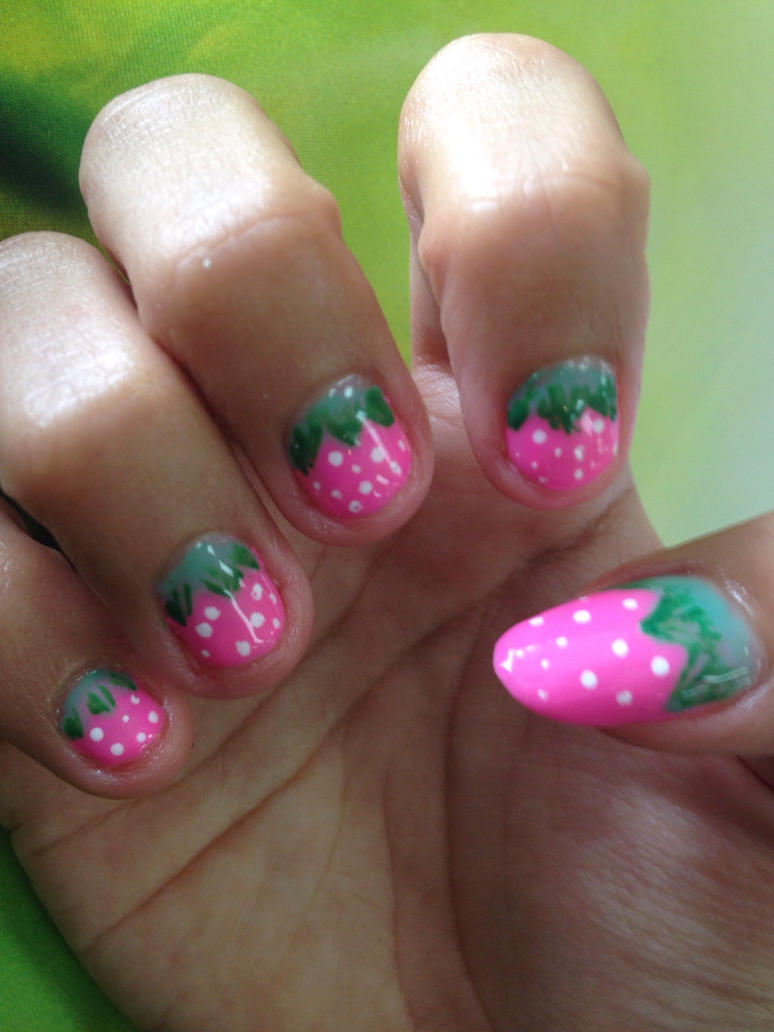 Pink Strawberries nails  by Prince5s