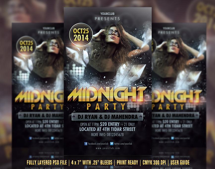 Midnight Party Flyer by ryan-mahendra