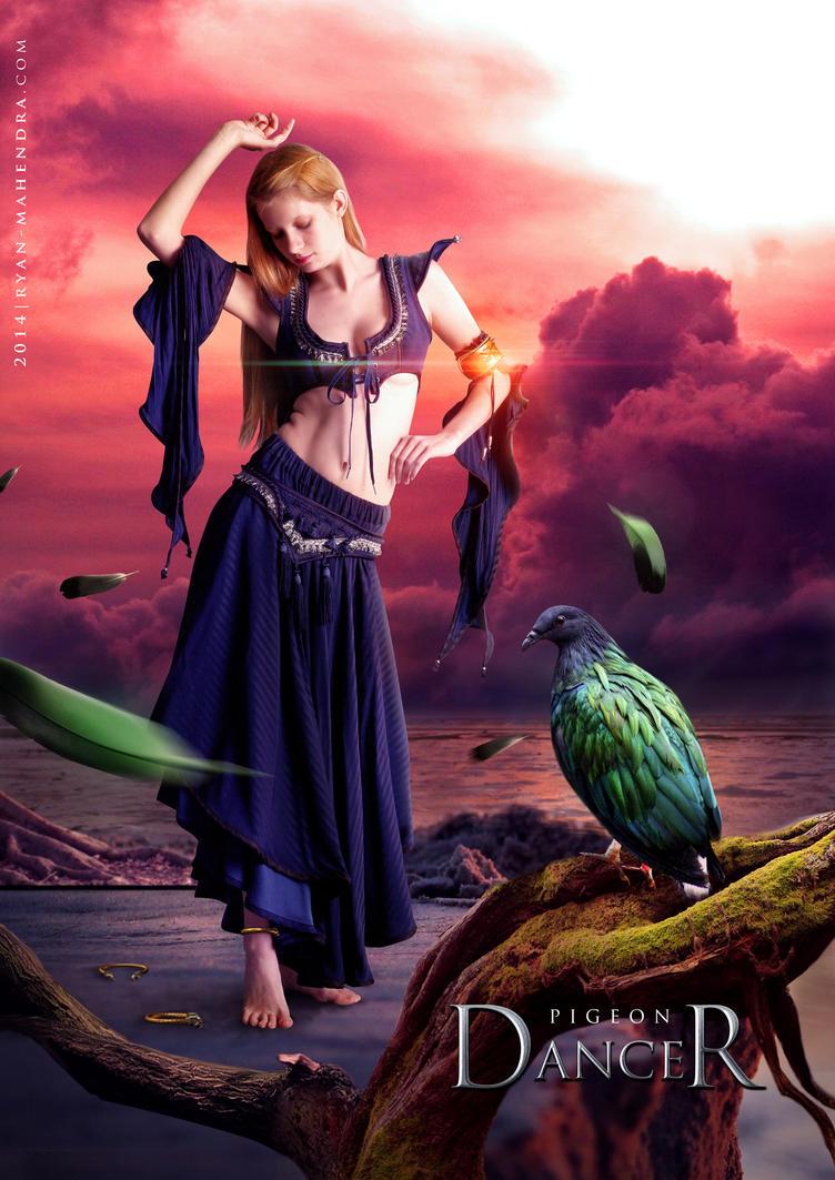 pigeon dancer, fantasy, girl, digital imaging, digital art, ryan mahendra