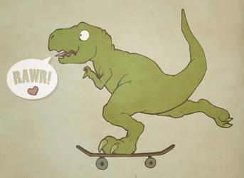 Skater Dinosaur in Love by MVRH