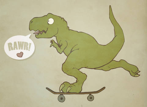 Skater Dinosaur in Love