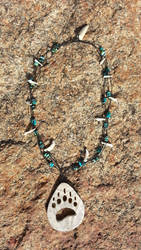 Carved Antler Bear Paw print Necklace