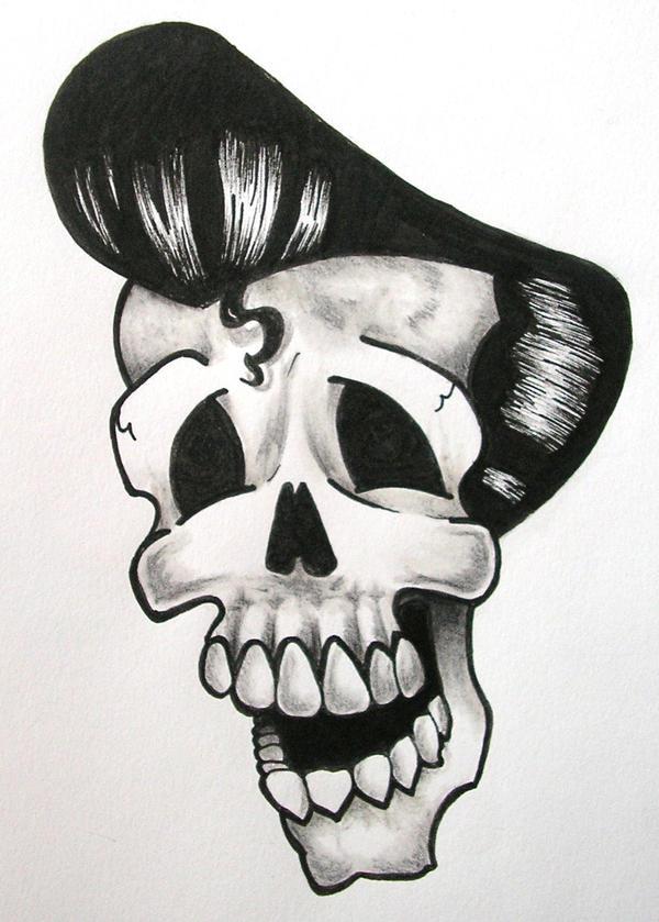 rockabilly skull by inkedforlife on deviantart. Black Bedroom Furniture Sets. Home Design Ideas