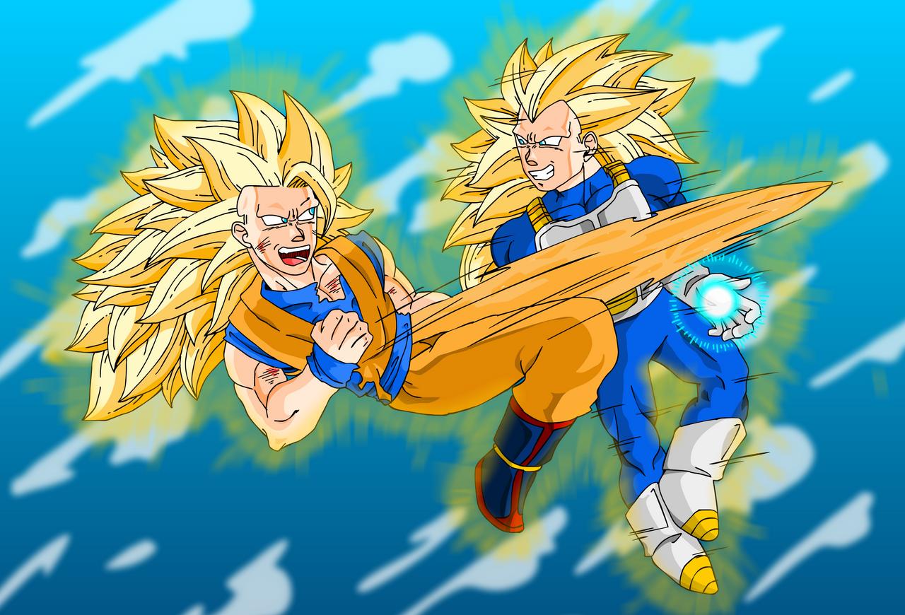 SSJ3 Goku vs Vegeta - Fin by Cosmodious on deviantART
