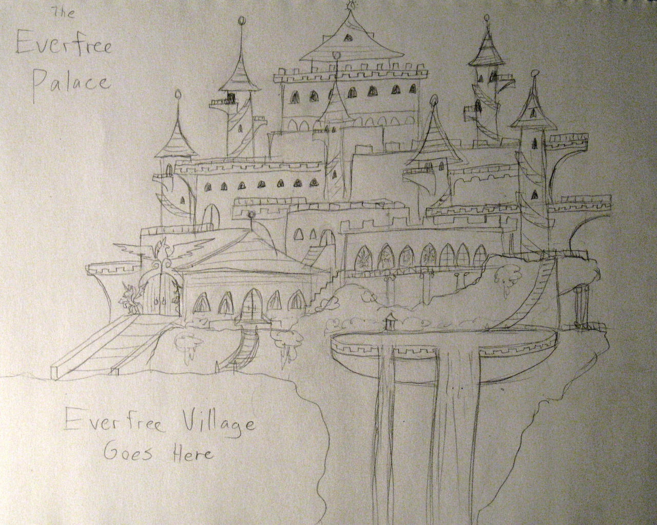 Everfree Palace conceptual sketch by AleximusPrime