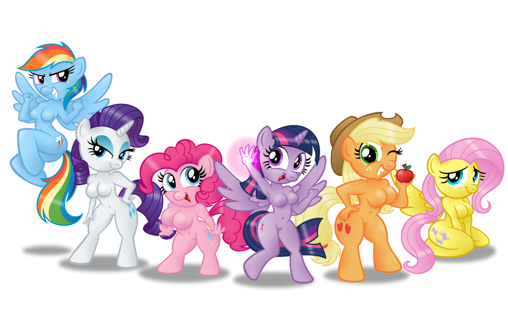 Anthro Ponies: Mane Six by AleximusPrime
