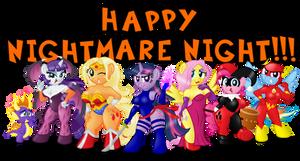 Anthro Ponies on Nightmare Night