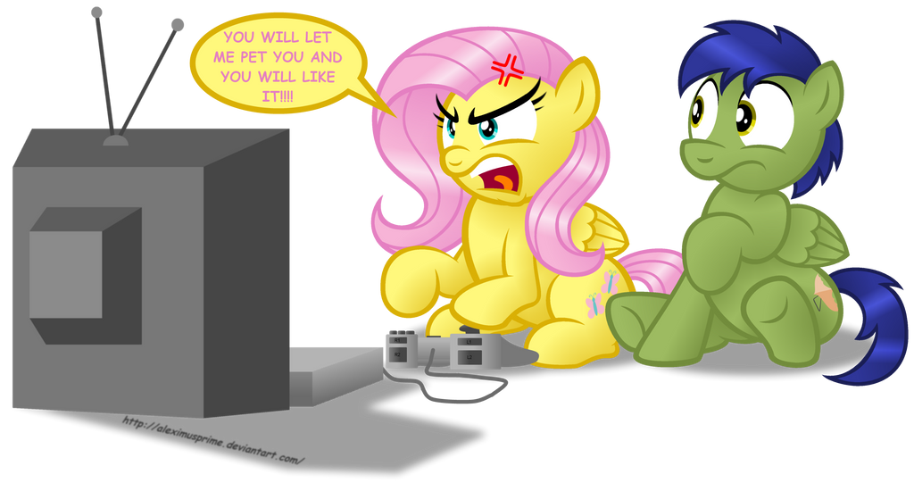 Commission:  Fluttershy vs Video Games by AleximusPrime