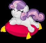 A cute little marshmallow on a pillow