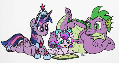 Reading with Flurry (colored) by AleximusPrime