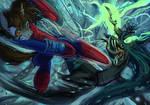 Spider-Mane vs Chrysalis Queen by Jowybean