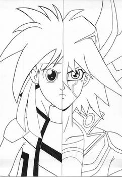 Two sides of the Stardust Dragon duelists