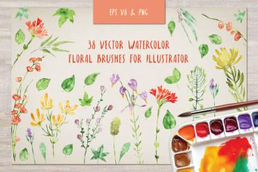 Floral watercolor brushes bundle