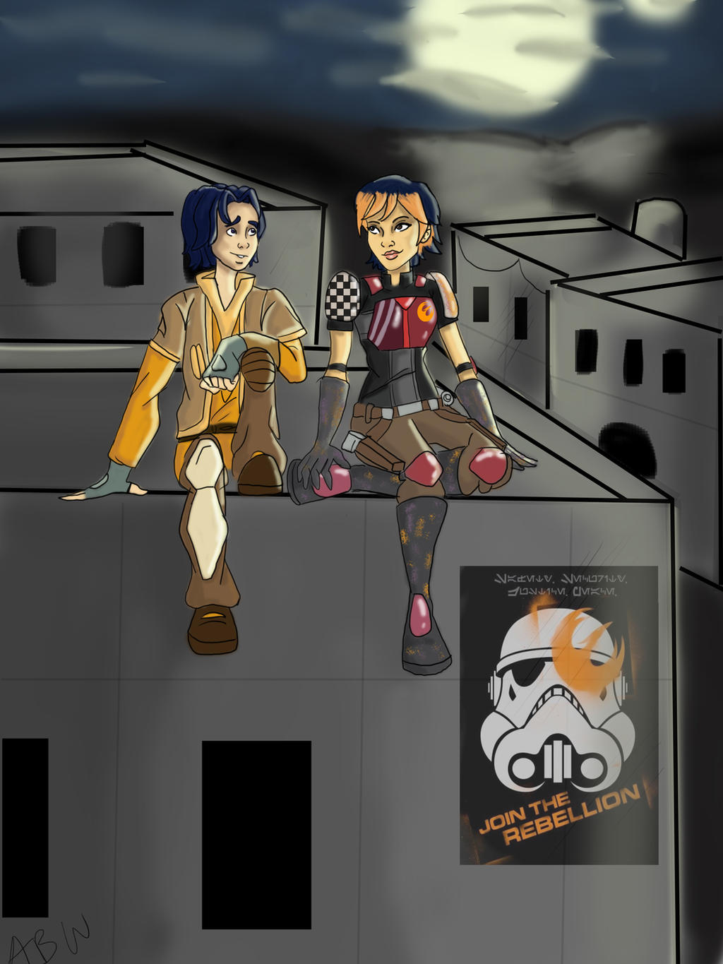 Ezra + Sabine - Rebels Season 3 Redesign (Fan Art) by ... |Star Wars Rebels Sabine And Ezra Kiss