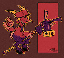 Dorkvil Rides a Donkey by sweetlygrotesque
