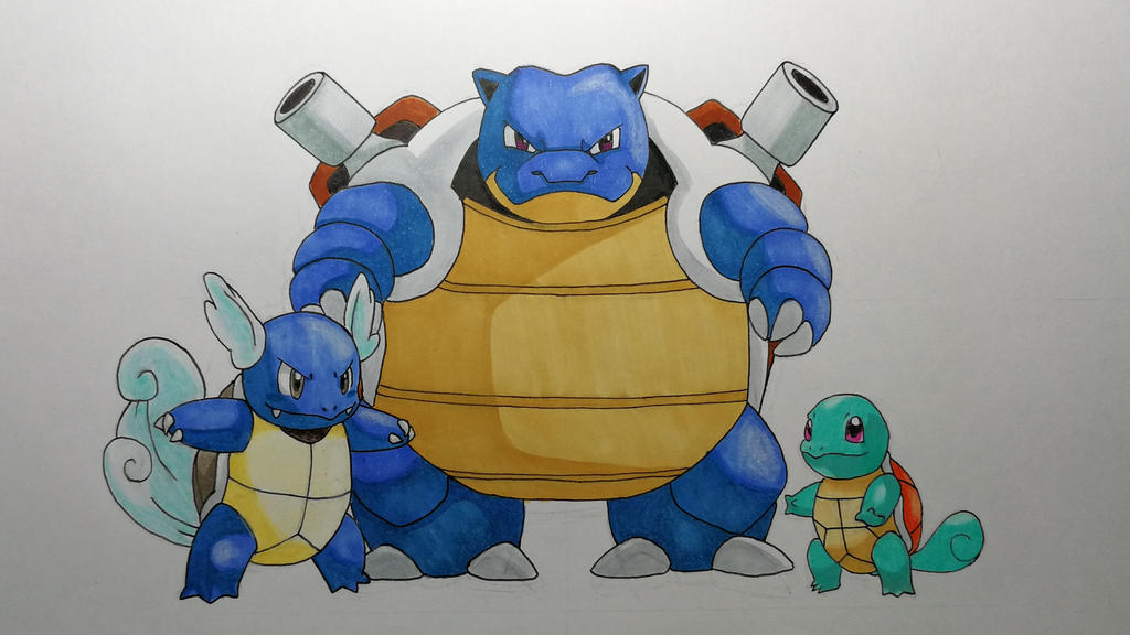 Squirtle, Wartortle and Blastoise by PokeTrainerArt on ...