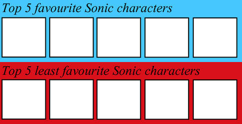 Top 5 favourite and least Sonic charchters by Dorito-Queen-Celeste