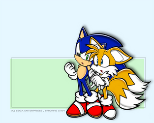 Sonic and Tails colored by 8Horns