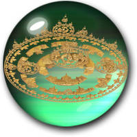 City In Green Glass Bubble