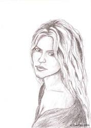 Shakira pencil portrait by roychin
