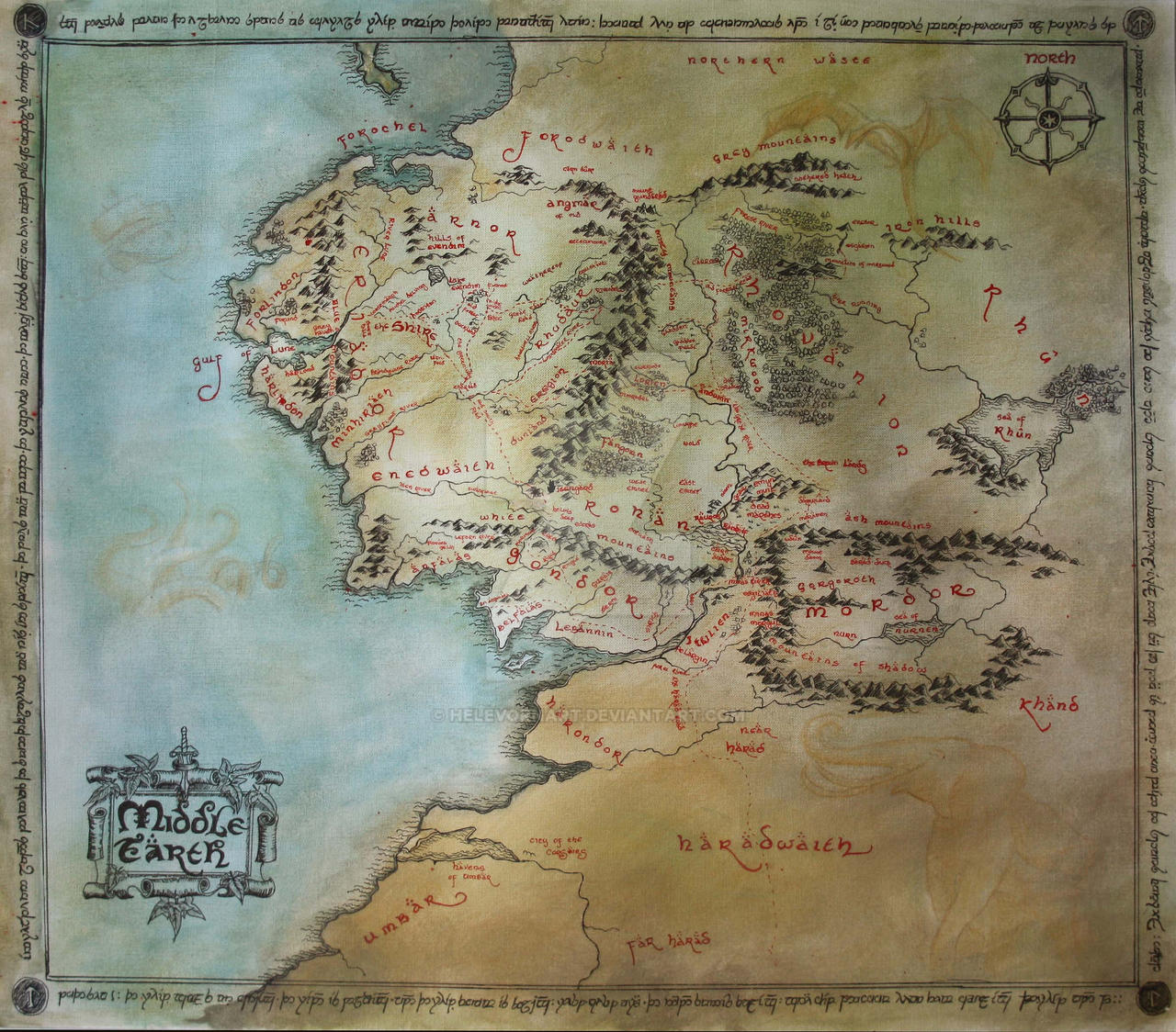 Map Of Middle Earth And The Undying Lands