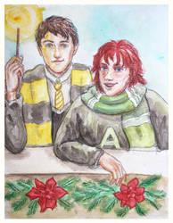 Yule at Hogwarts by HelevornArt