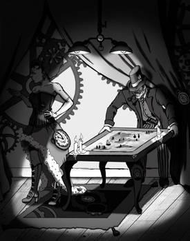 Steampunk Hideaway greyscale