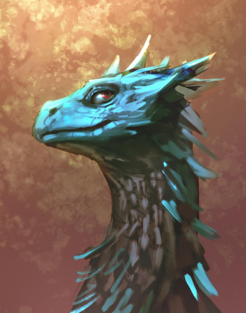 Blue dragon by fluffySlipper