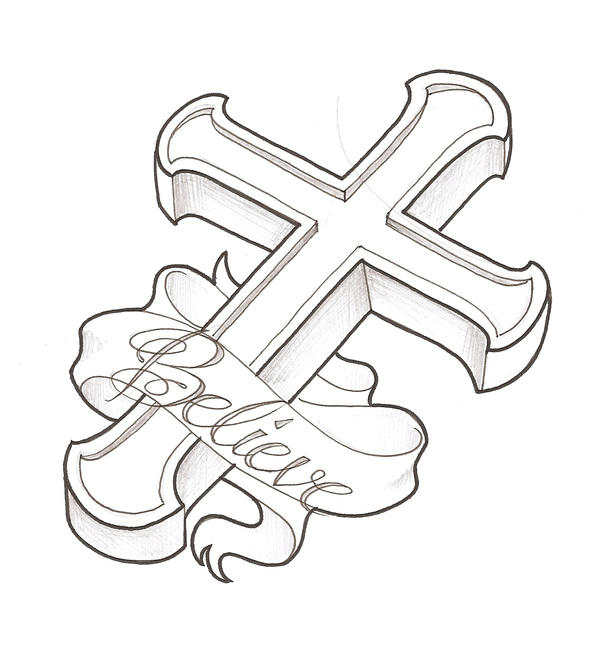 Gallery For gt Cross With Ribbon Drawing
