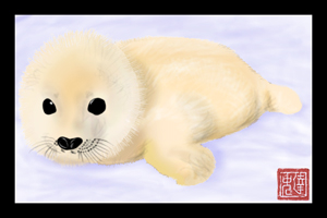 Cute Fluffy Baby Seal by Brainsloth