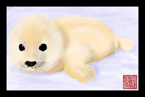Cute Fluffy Baby Seal by Brainsloth