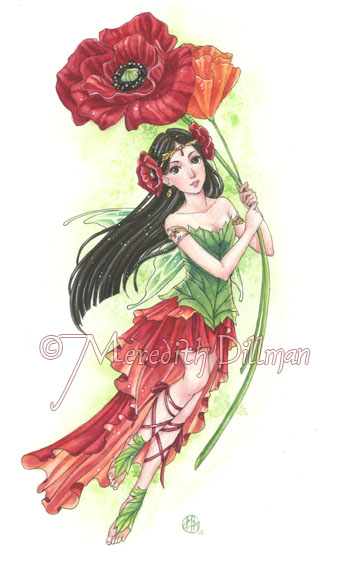 Red Poppy Fairy by MeredithDillman