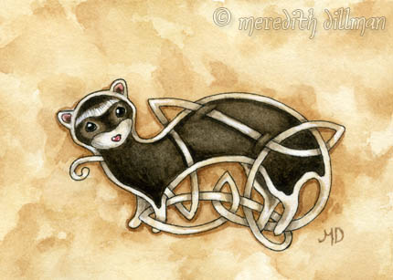 Celtic Ferret ACEO by MeredithDillman