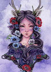 Dark Faun with Anemones by MeredithDillman