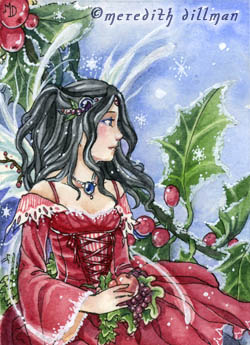 Holly Fairy ACEO by MeredithDillman