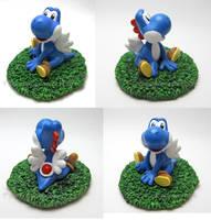 Super Mario- Blue Yoshi commission by Tsurera