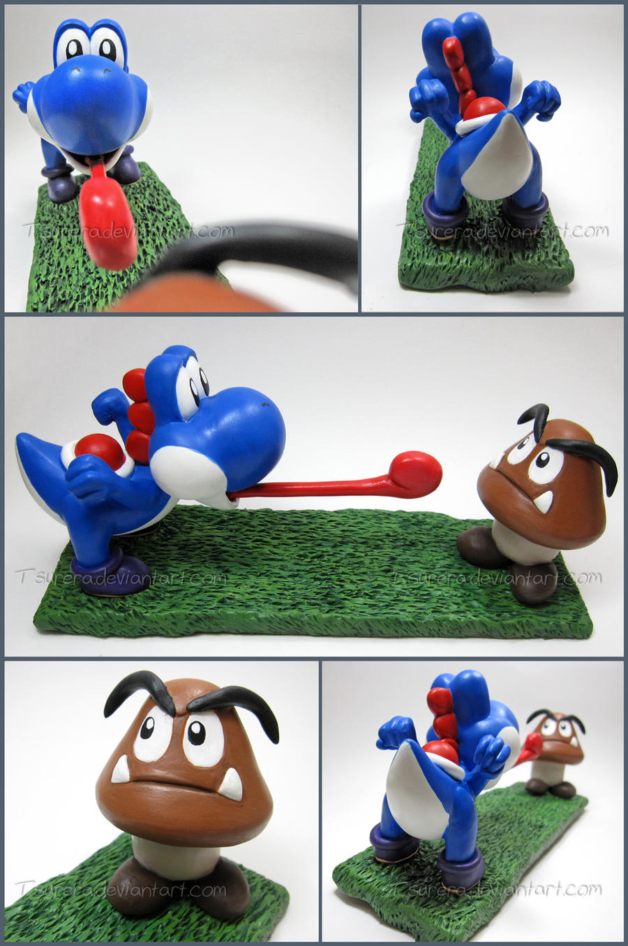 Super Mario- Large Blue Yoshi + Goomba commission by Tsurera