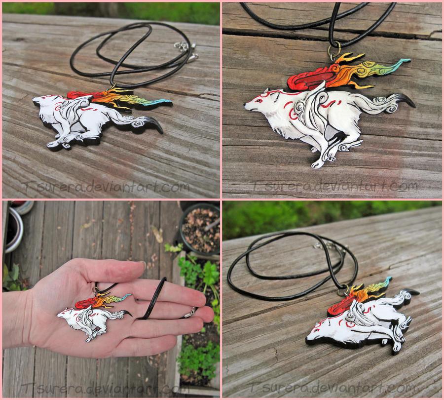 Okami Amaterasu Necklace Charm by Tsurera