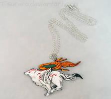 Okami Amaterasu Necklace Charm Alt by Tsurera