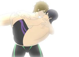 Makoto carrying and kissing Haru by supermaxx92
