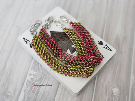 Watermelon Dragonscale Chainmaille Bracelet