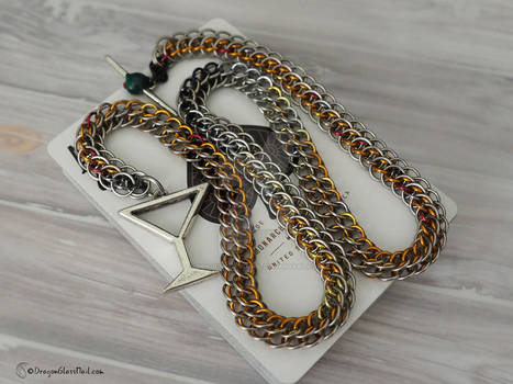 Fire Chainmaille Martini Necklace