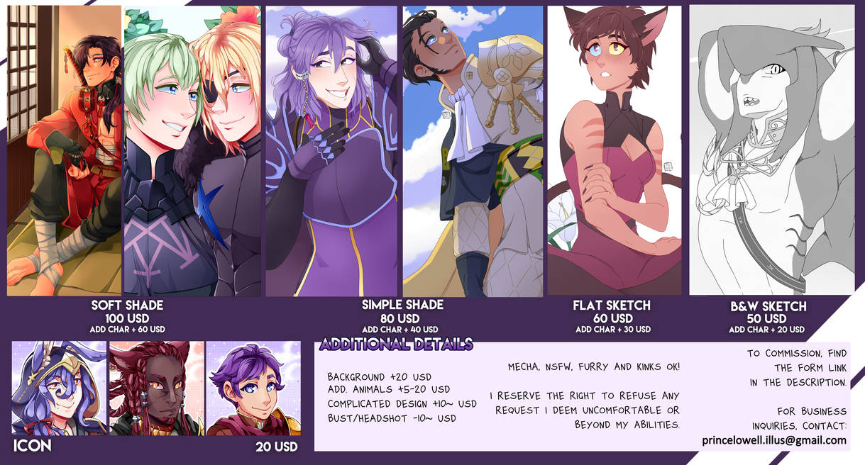 Commissions sheet - Now with Character Refs